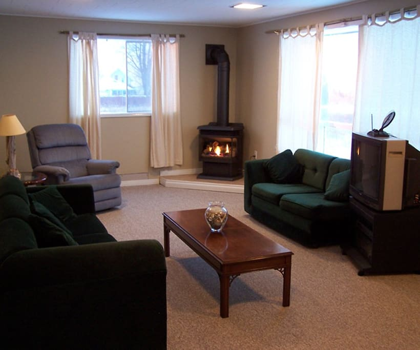 Living room with gas burning stove