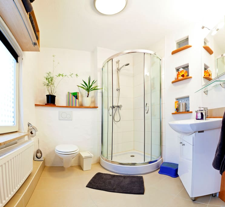 Tageslicht-Bad mit Dusche, WC und Waschbecken - Weitwinkelbildmontage :-)