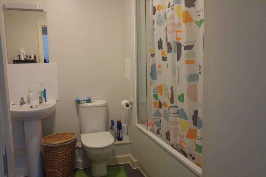 bathroom - basin sink, toilet and bath