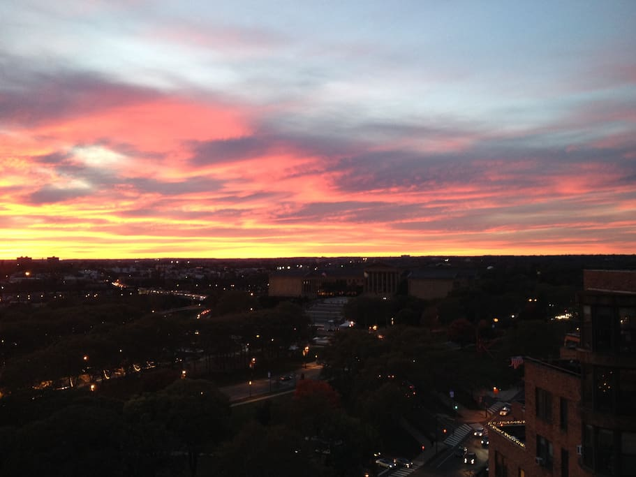 Sunset View of Art Museum and Parkway from the Roofdeck