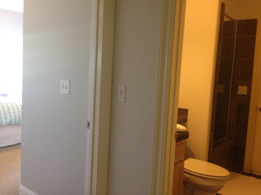 Two steps out the bedroom door to your own private bathroom