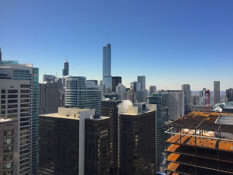 View of Willis Tower and Trump Tower from the apartment.