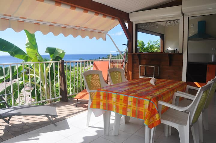 Bungalow with 2 bedrooms in Bouillante, with wonderful sea view, furnished garden and WiFi - 100 m from the beach