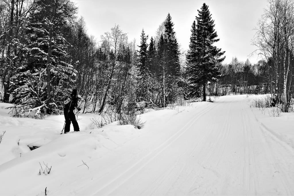Easy access to cross-ski opportunity. Only 150m from the cabin.   Til venstre er det kun 150m til hytta, til høyre er det kun 50m til parkeringsplassen. Som du ser, ligger hytta lett til for ski entusiaster eller barne familier.