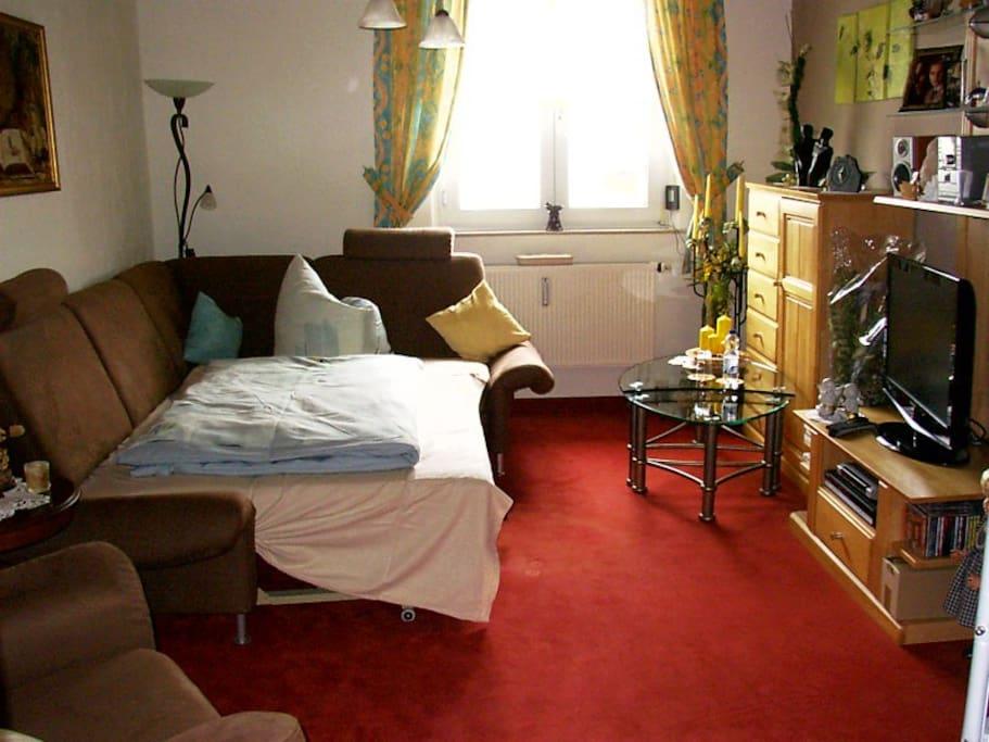 Wohnzimmer mit Schlafcouch für 1 Person oder 2 Personen