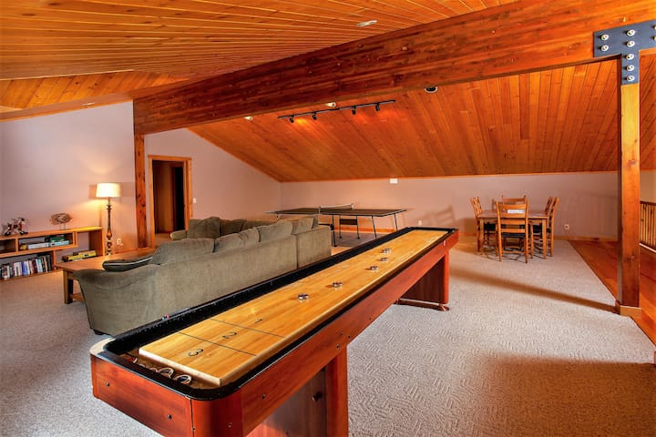 Shuffle board and ping pong table