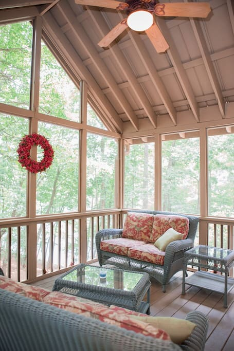 Screened in porch right off the dining room.