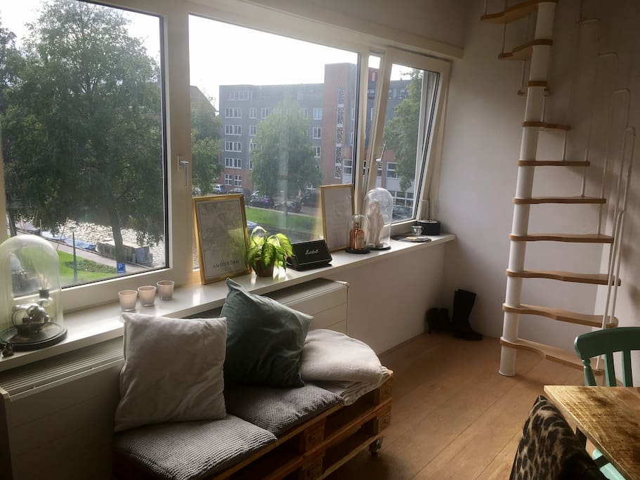Living room with canalview