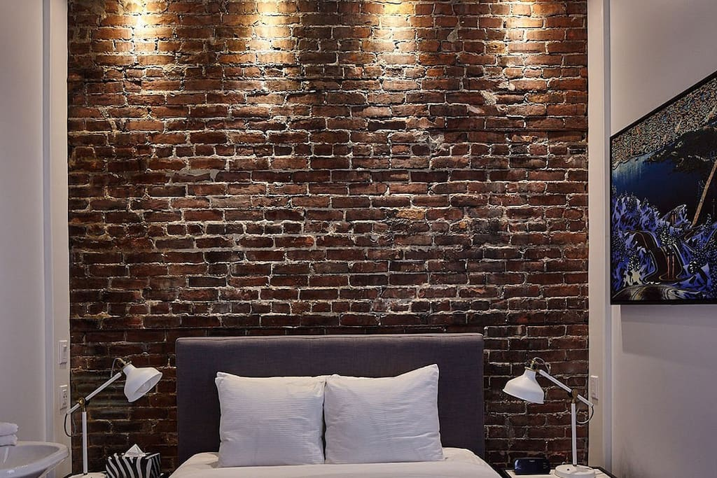 Signature brick wall -which lights up
