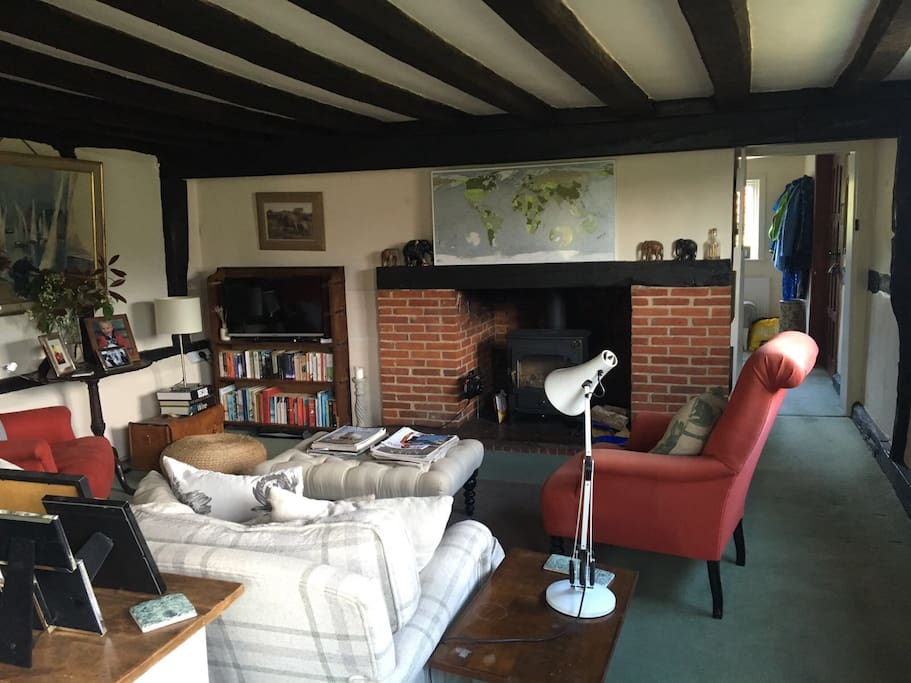The sitting room with log fire