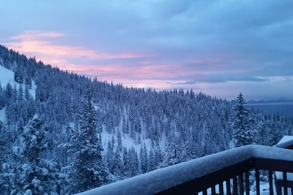 Beautiful winter morning view from the balcony.