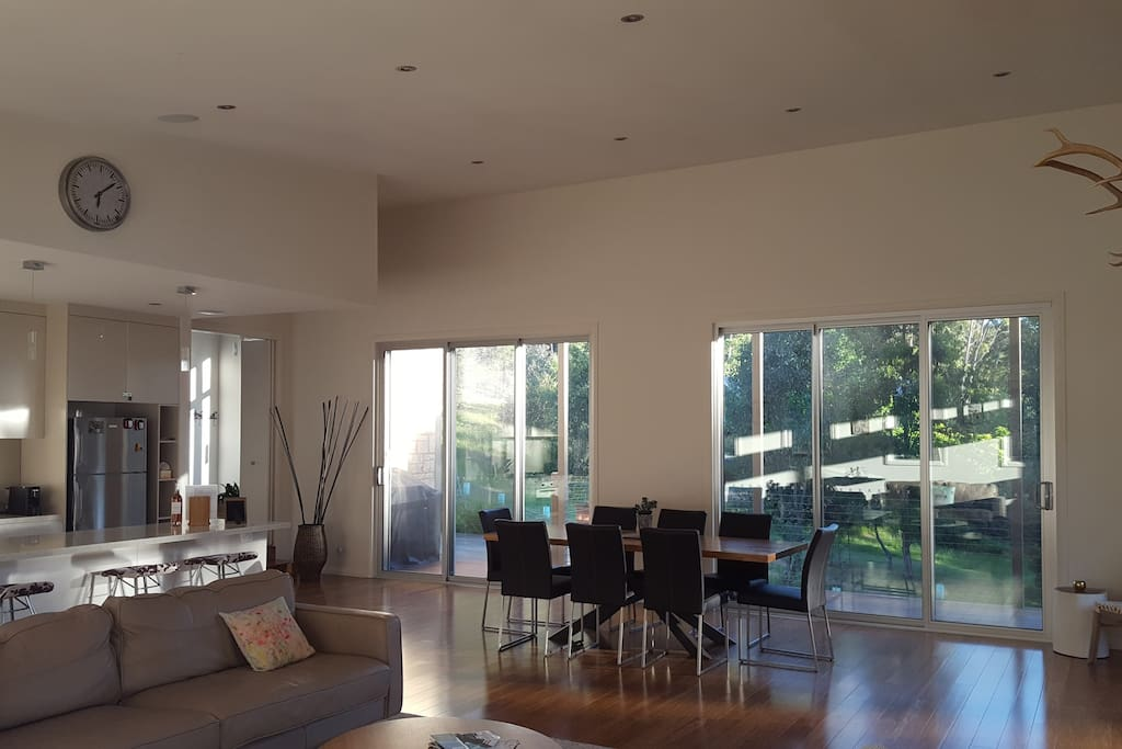 Sliding doors opening onto the bbq area & deck area