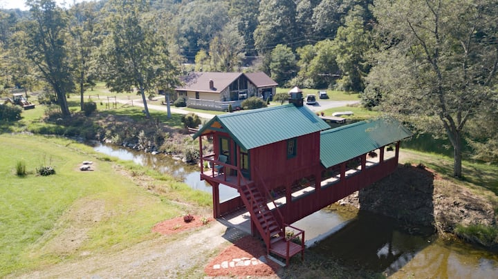 House, Covered Bridge, Stream & 4 Ponds.