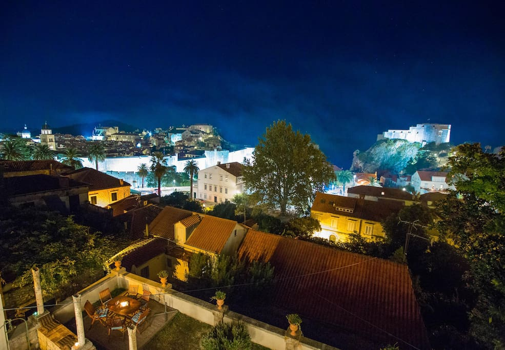 breath taking view of Dubrovnik at night from apartment Ariel