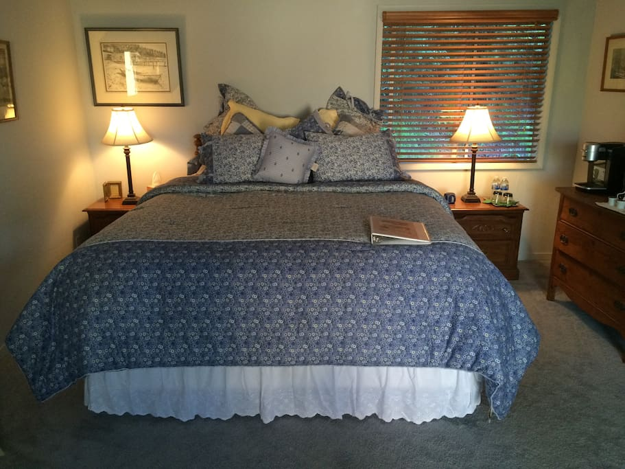 You will love our King bed with luxurious linens and pillows!