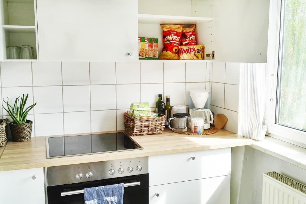Kitchen with snacks and everything you need for cooking