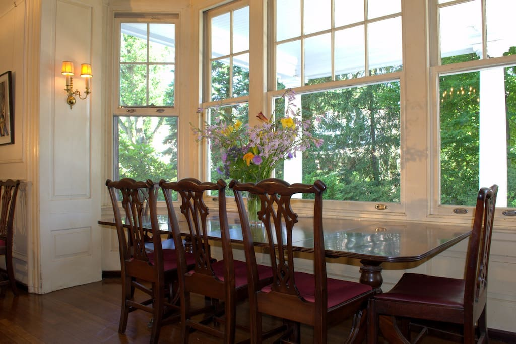 Dining room table can be expanded with a leaf and moved to center of the Great Room, for parties