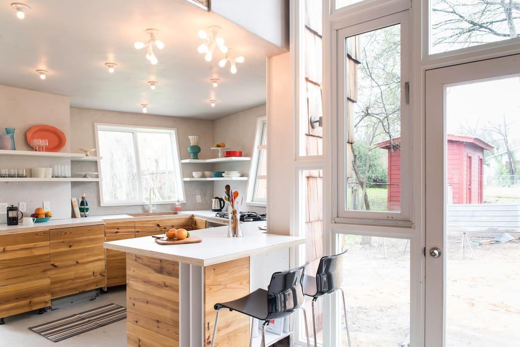 Gorgeous open plan kitchen full of light