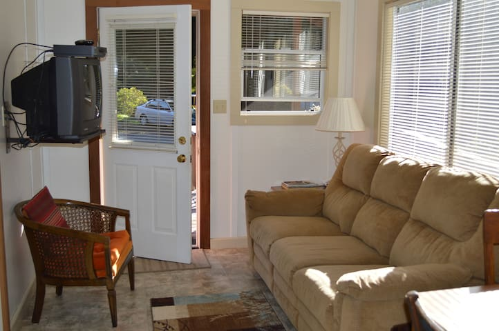 Living space with recliner couch.