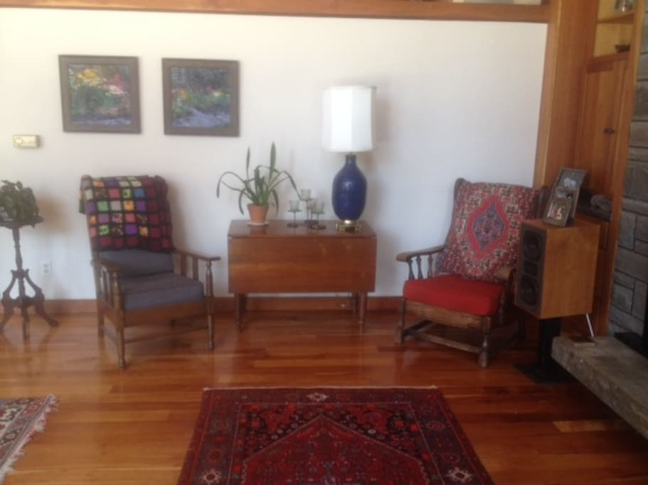 Places to sit in the living room, shared space.
