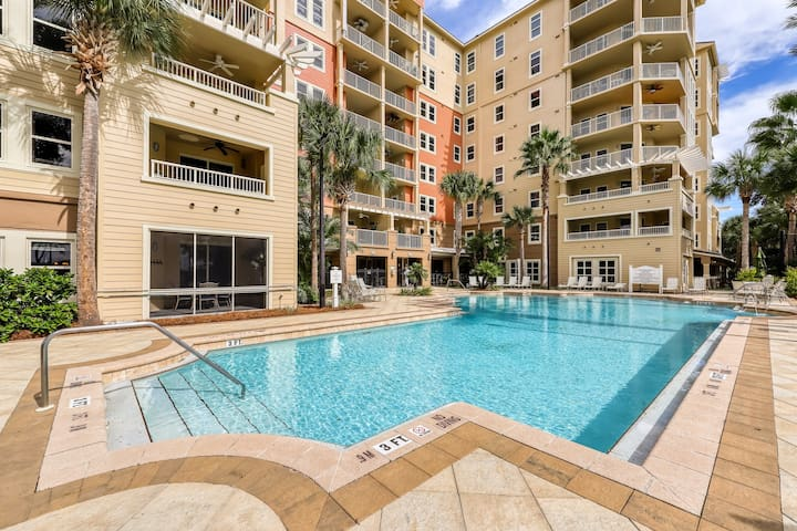 Upscale rental in gated, bayfront complex with shared pool, gym, foosball table