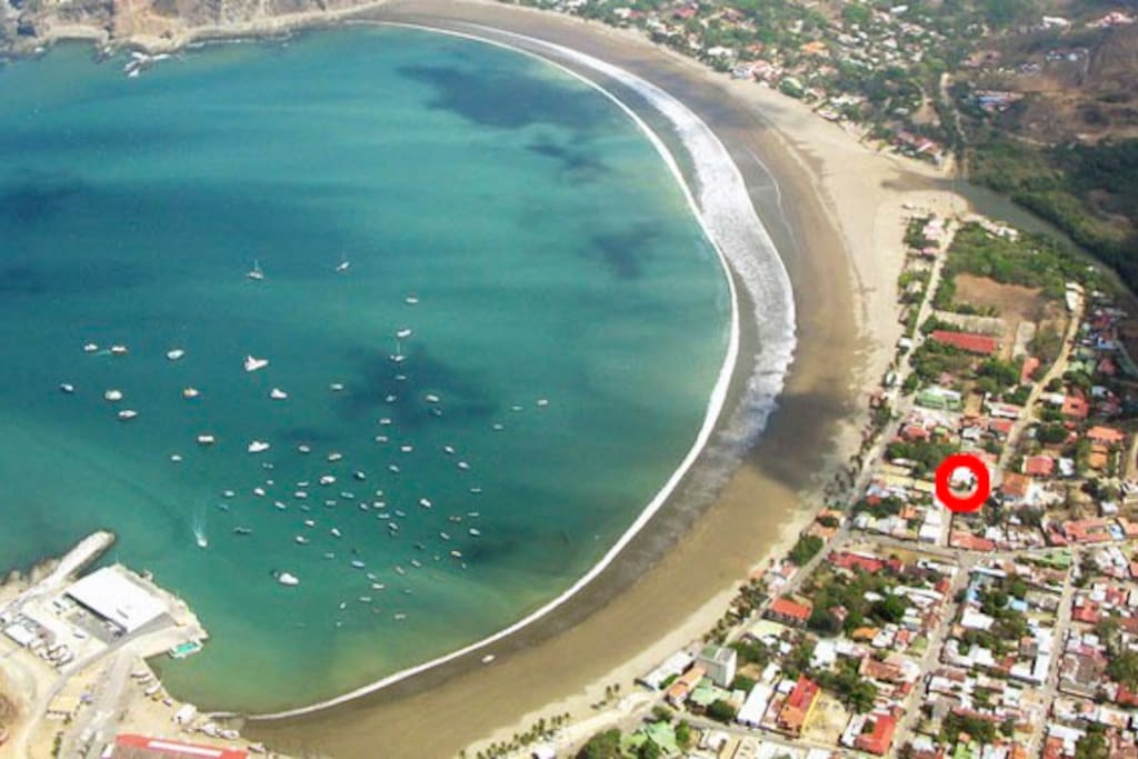 An areal view of San Juan Del Sur. The house is located in the red circle.