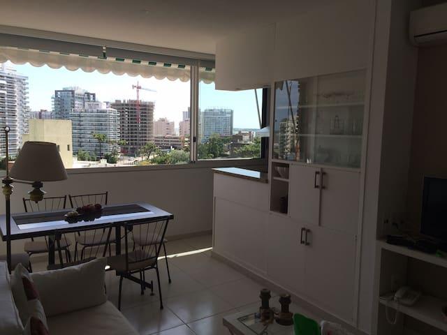 vista desde la puerta que separa al living/ comedor del baño y dormitorio