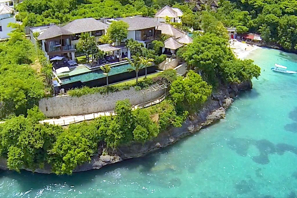 Birds eye view of Opera villa. Absolute prime waterfront location, walking distance to the main village and surf breaks....
