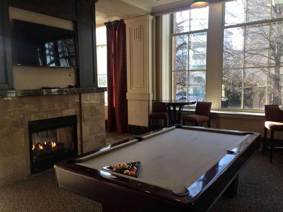 Club room has pool table, big screen tvs, fire place, felt poker tables, and fresh coffee in the morning.
