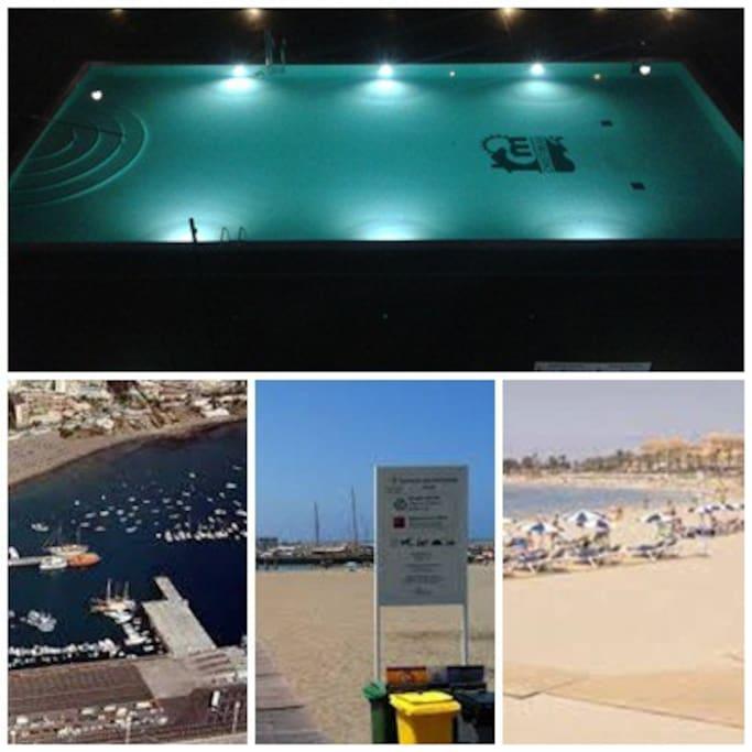 Piscina, playa, paseo, un paraíso - Pool, beach, promenade, paradise.
