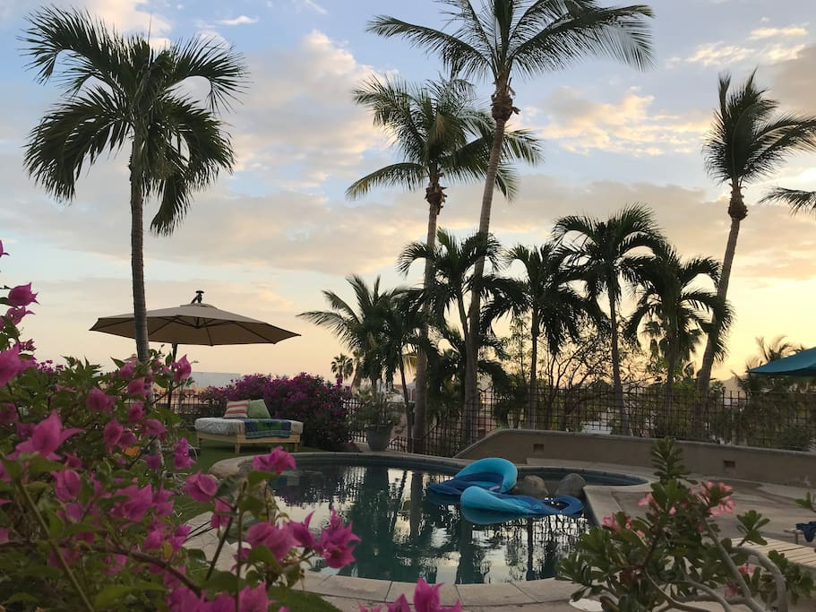 Lounge by the pool during the day or enjoy the evening sunsets.
