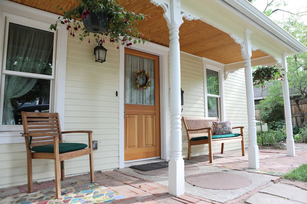 Our covered front porch is a nice place to relax and watch the neighbors walk by.
