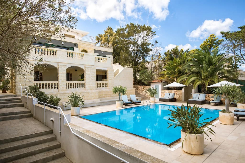 Our beautiful villa and large outdoor pool