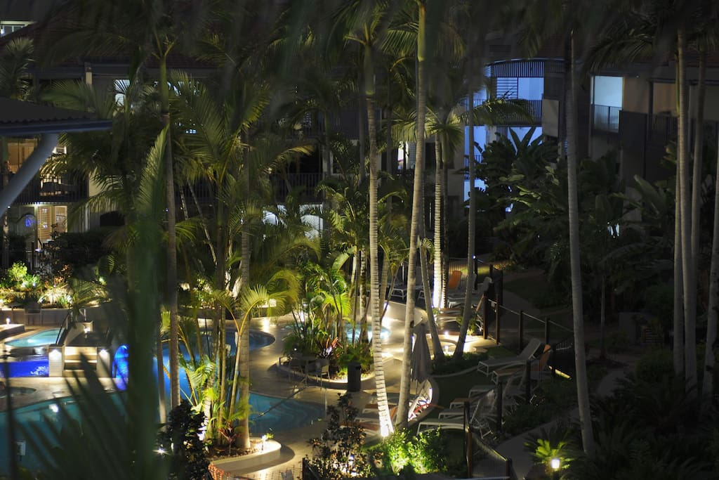 Night view from our Balcony to Central Pool area