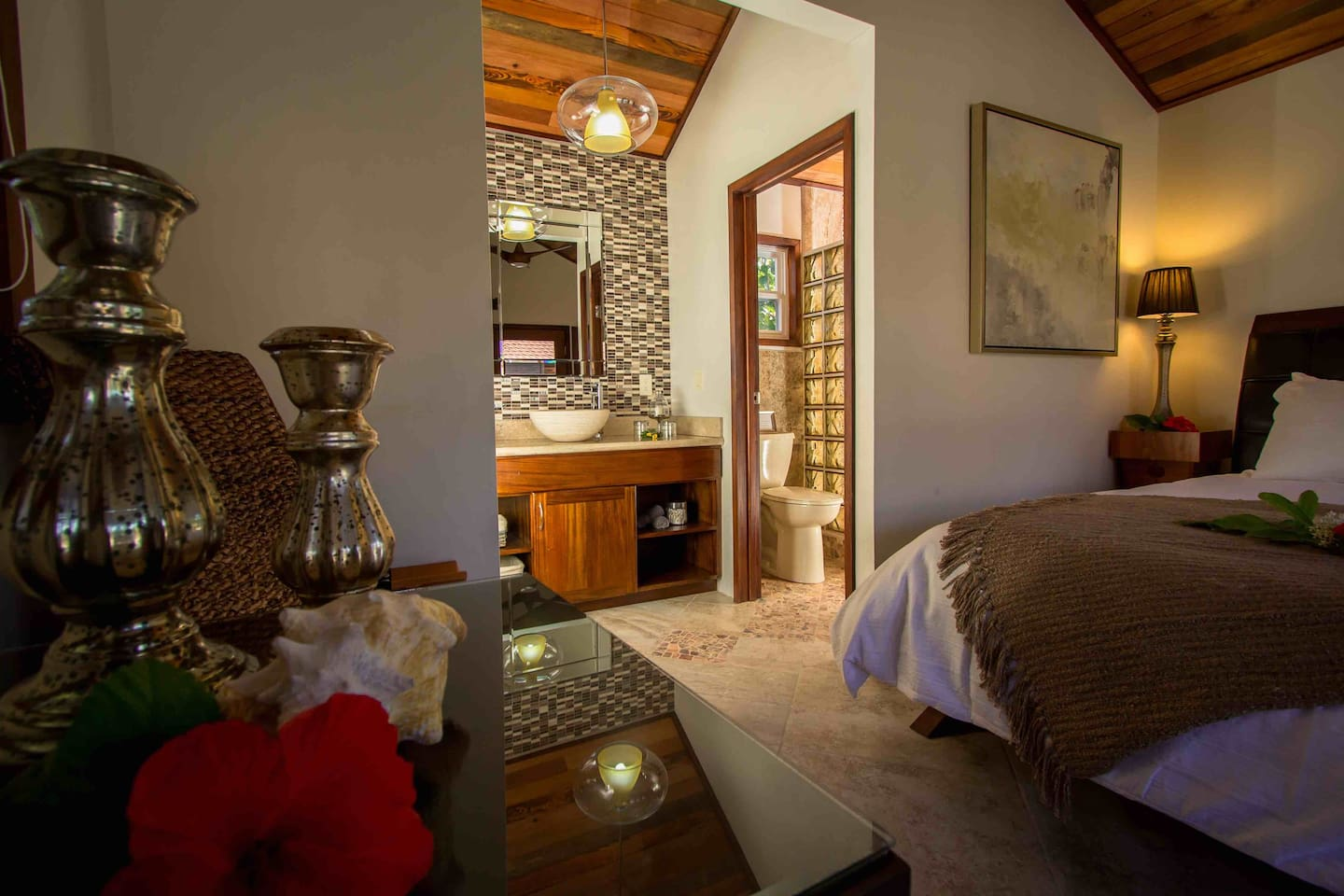 The interior of Cabana One features a queen bed, custom furnishings, luxe linens and gourmet breakfast in the morning.