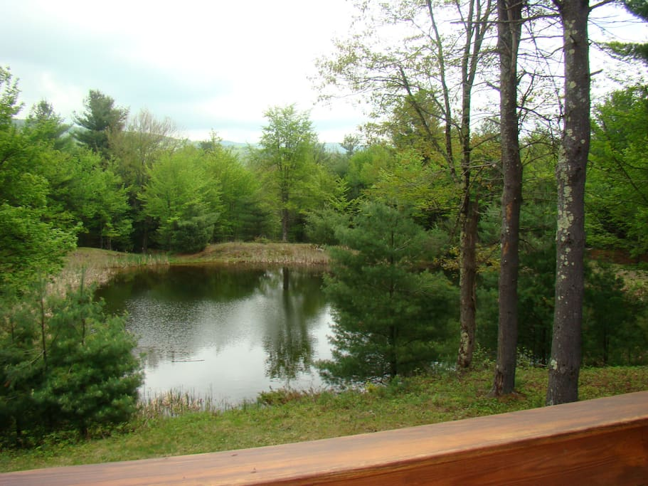 back deck overlooking fresh water pond