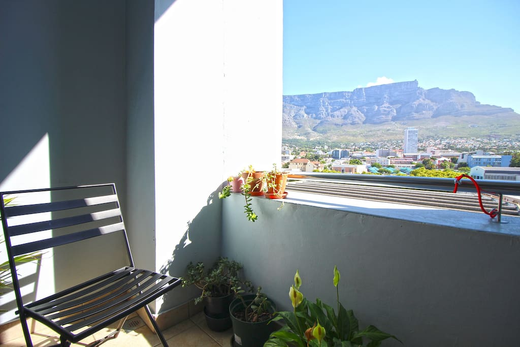 Sunny balcony with views of Table Mountain