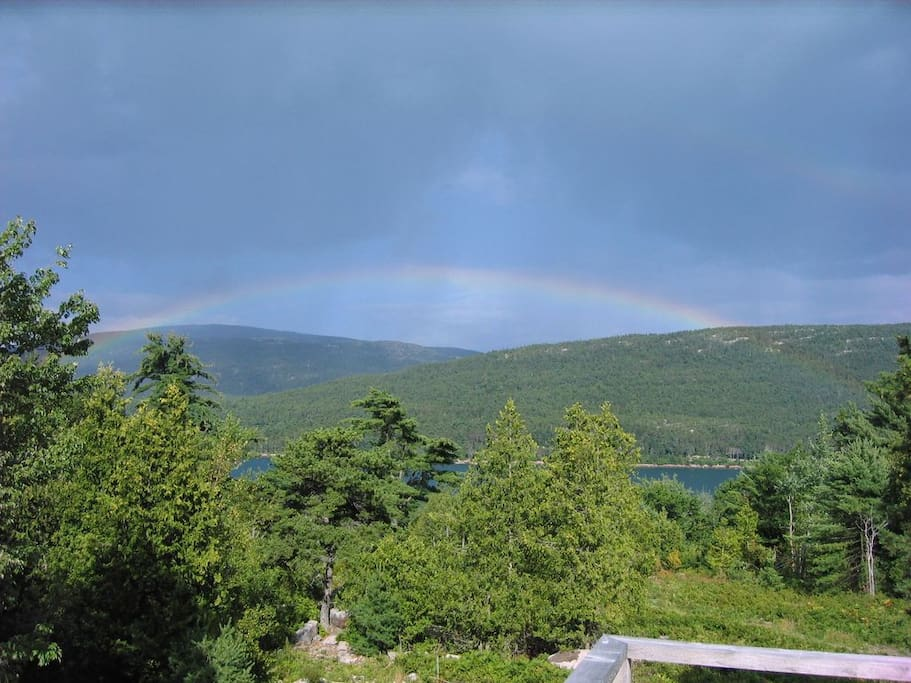 Rainbow over Somes Sound-taken by a guest on the deck of The Acadia Cottage