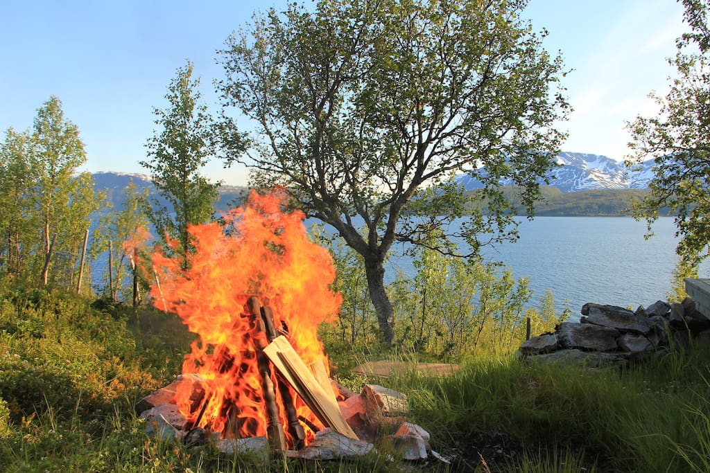 The traditional bonfire at midsummer outside the veranda.