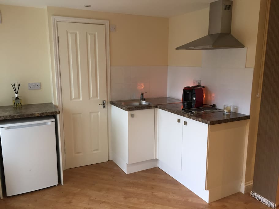 Kitchenette with fridge, hob, Tassimo Coffee machine, kettle, and microwave (not shown).  Door to ensuite with shower