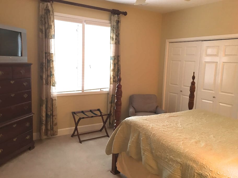 A private, queen size guest room with everything you need for your comfort.