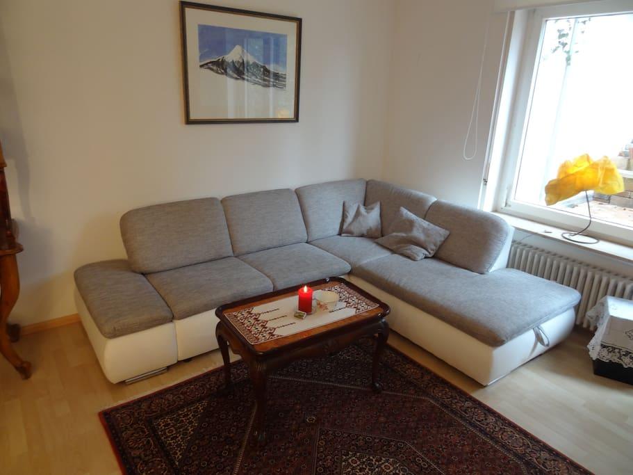 Sofa bed in the Living room / Ausziehbares Sofa im Wohnzimmer