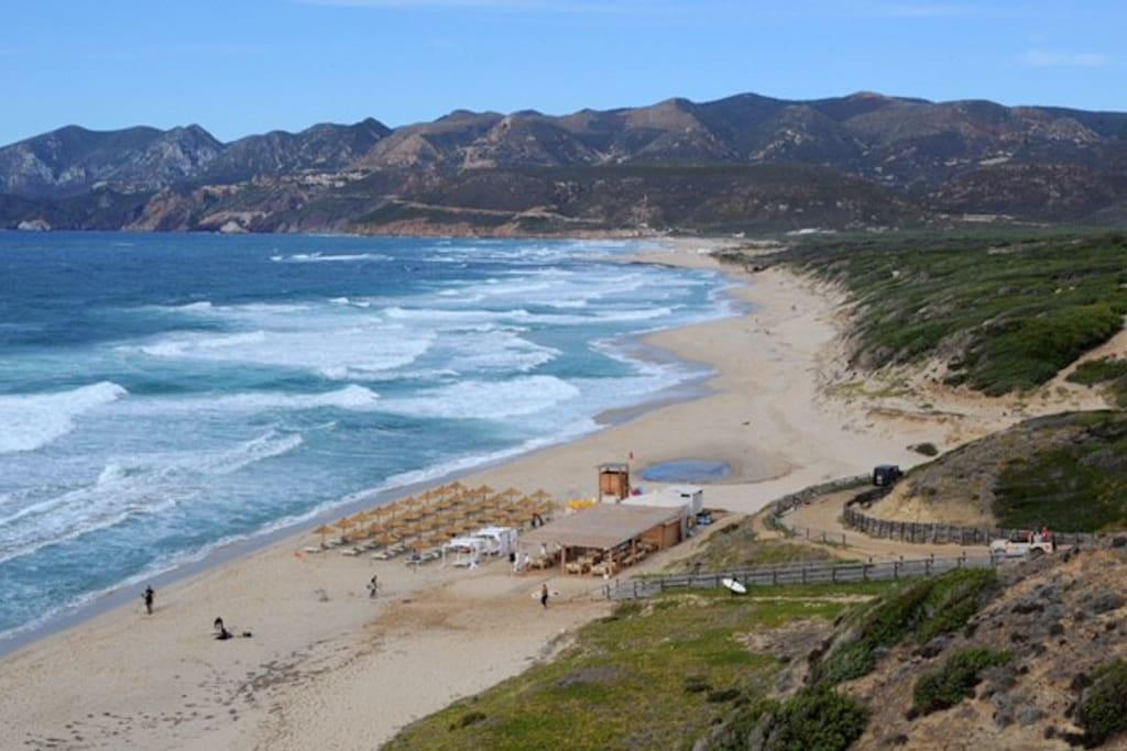 La spiaggia Portopaglia a 9km da Iglesias