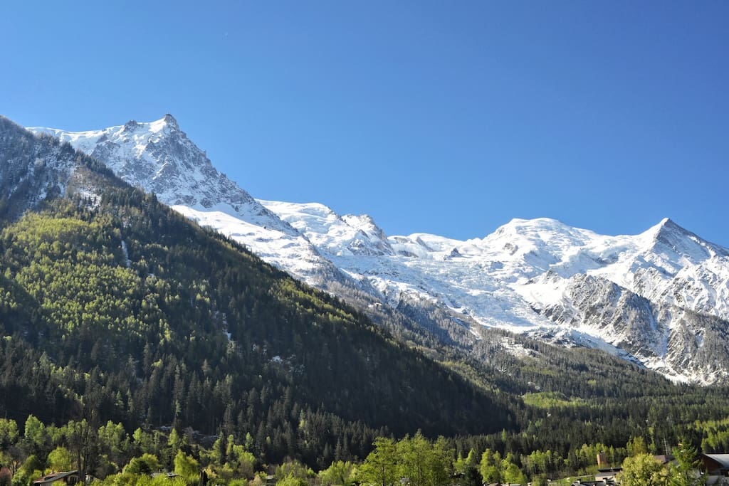 Amazing view to Mont Blanc and glacier Bossons