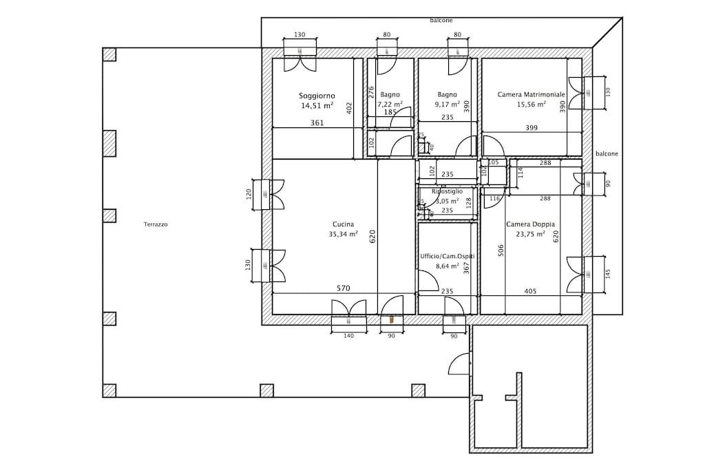 Piantina Appartamento 140 mq + Terrazzo 110 mq + Balconi 30 mq