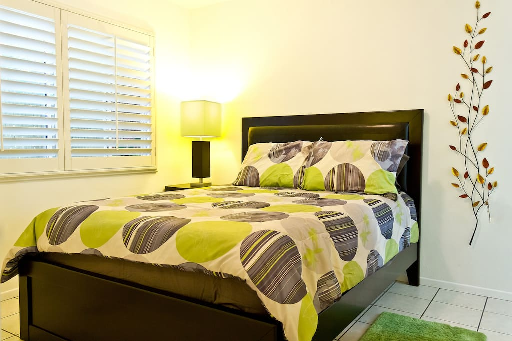 Queen bed with pillow top mattress.