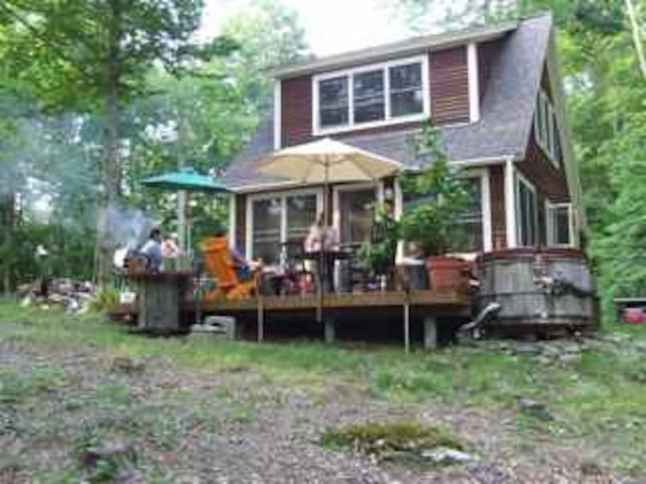Great place to grill and relax on back deck. Hot tub from deck.
