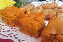 Apricot, Pinion Nut, Butterscotch Brownies with Marsala Seeped Raisins. The Apricots are from the tree at the AG house. My substainable energy creative cookies loved by all! Oatmeal Brownies, a real treat!