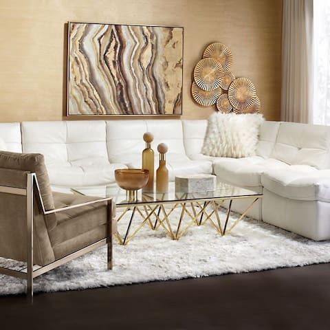 Modern and Contemporary decor accent the all white living room adjacent from the 4K TV including Playstation 4, Netflix, and Cable TV