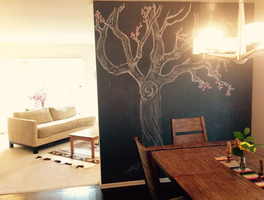 Dining room art wall changes with the seasons